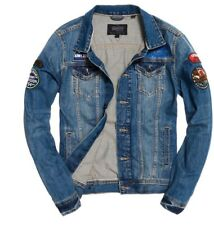 New Men's XXL Superdry Rogue Patch Truckers Denim Jacket Hammered Vintage