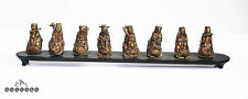 Antique Chinese Qing Dynasty Silver 8 Immortals Figures Hat Finials on Stand