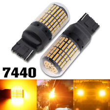 2X T20 7440 LED CANBUS 144SMD Car Turn signal Light Amber Reverse Lamp Bulb W21W