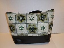 Green And White Snowflake Fabric Tote Bag Super Cute