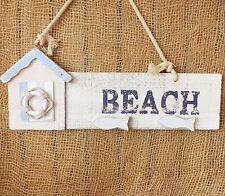 Blu Bianco Spiaggia E MURO IN LEGNO PORTA PLACCA Hut Vita Anello segno gioco