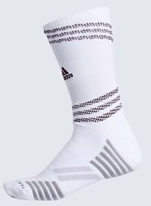 ADIDAS Speed Mesh Team Traxion White Maroon Crew Football Socks Mens M 6.5-9