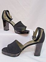 Yves Saint Laurent Heels T-Strap Platform Shoes Sz 5 Black Crepe Leather W Box