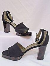 Yves Saint Laurent Heels T-Strap Platform Shoes Sz 5 Black Crepe Leather W Box