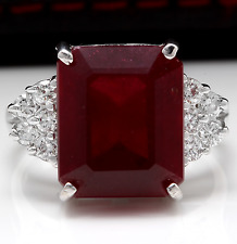 13.00 Carats Natural Red Ruby and Diamond 14K Solid White Gold Ring