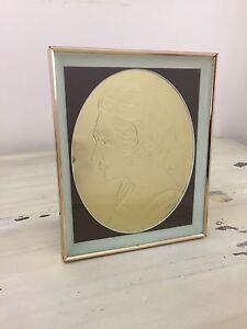 GOLD METAL EMBOSSED FRAMED ART - Woman, Profile, Vtg, Engraved, MUST SEE!