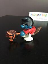 Vtg Hobby Horse Rider Jockey Super Smurf Schleich Peyo PVC Figure 40214-2