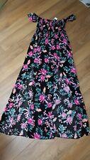 New Ladies Black Floral Maxi Dress Size M