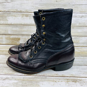 Laredo Lacer Womens Leather Boots Sz 7.5 Black Burgundy Western Lace Up VTG 90s