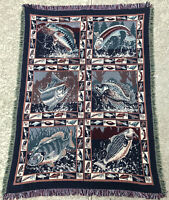 "Goodwin Weavers 68"" x 46""  Fishing Fish Weaved Stitched Blanket Throw Tapestry"