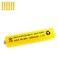 6 pcs AAA 3A 1800mAh 1.2V Ni-MH rechargeable battery Solar Light MP3 RC Yellow