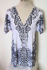 One World Beach Short Sleeved Paisley Tunic Top Size L  Polyester             #5