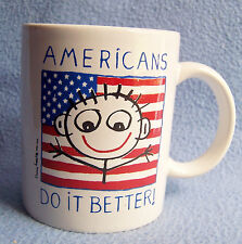"U.S.A. ""Americans Do It Better"" flag Mug patriotic red white blue America Usa"