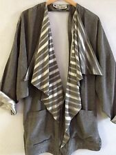 Gilbert Basson Plus Size Large Big Gray Stripped Silver Jacket Blazer Top L-Larg