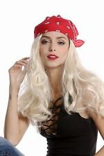 Peluca & Pañuelo Bandana Mujer Hombre Carnaval largo rubio pirata Rockero Motero