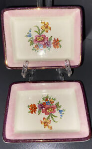 GRAYS POTTERY 2 Trinket Dishes Made in Stoke on Trent, England.  Floral Design.