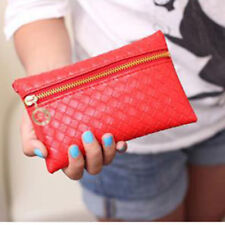 CLUTCH BAG PURSE RED WITH WRIST STRAP LINED INTERIOR
