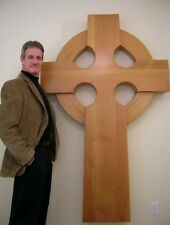 Large 6 Foot Celtic Wood Wall Hanging Cross for Church, or Castle Anglican Art