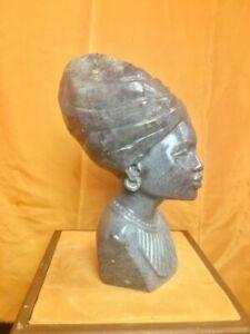 "Lapidolite Shona stone Female Bust by E. Katombera, ""Royalty"""