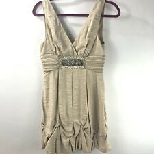 BCBG Maxazria Antique Gold Sequin Beaded Ruched Bubble Hem A-Line Flare Size 4
