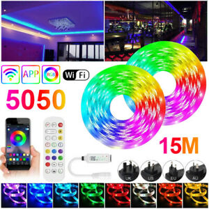 16-65FT RGB 5050 Bluetooth Led Strip Lights SMD Flexible Lamp 12V DC Power Kit