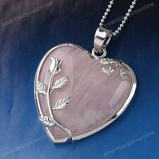 Natural Rose Quartz Stone Heart Leaf Bead Focal Pendant Fit Necklace Jewelry DIY