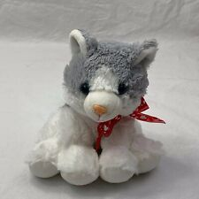 Hug & Luv Grey Gray White Husky Dog Wolf W/Red Bow Plush Stuffed Animal 7""