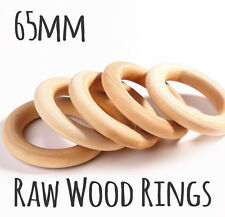 5x natural wood rings unfinished ring 65mm jewellery teeth baby nursing wooden