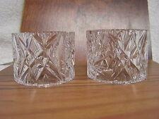 Vintage Pair CUT GLASS Napkin Holders