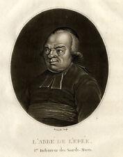 Sourds Muets Portrait Abbé de L'Epée Gravure Révolution Francois Bonneville