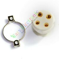 1pc 4pin Gold Ceramic vacuum Tube Valve Socket For 300B 2A3 801 274A audio amps
