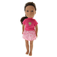 Rose Red Tops & Miniskirt Set for 14'' Wellie Wishers AG American Doll Doll