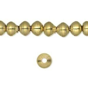120pc Brass Rondelle Spacer Beads Fancy Cut Mini Metal Loose Beads Craft 3.5x3mm