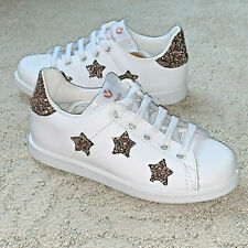 Girl Sneakers Victoria White Leather Shoes Casual Trainers Stars Hearts Glitter