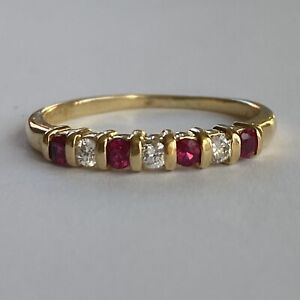 Fine Ruby and Diamond Half Eternity Ring 18ct Yellow Gold Size Q (US 8)