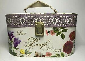 Vintage Paula Scaletta Tri-Coastal Design Floral Jewelry Box Storage Organizer