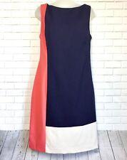 LAUREN RALPH LAUREN Women's Lined Navy Color Block Sleeveless Dress Size 14 EUC