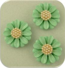2 Hole Beads Daisy Flowers Minty Aqua Faux Pearl Cluster Centers ~ Sliders QTY 3