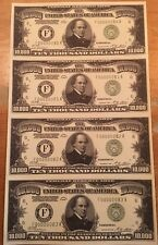 Copy Reproduction 1928 Green Seal $10,000 Uncut US Currency Sheet Paper Money