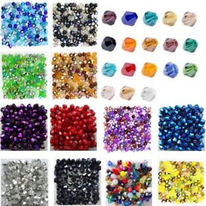 200pcs Beads Loose Crystal Spacer Faceted Glass Bicone Wholesale Jewelry Making