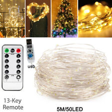 8 Modes Fairy Light Outdoor Party Wedding Xmas Tree USB String Lamp W/ Remote