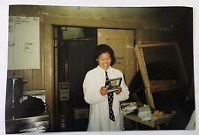 Vintage 90s PHOTO Woman Chef In Backroom Kitchen Area Preparing For Service