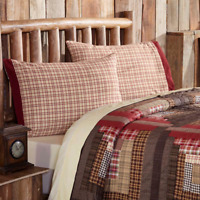 TACOMA Standard Pillow Case Set Lodge Creme/Red/Green Plaid VHC Brands 21x30