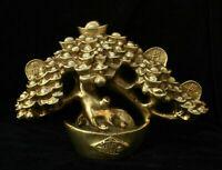 Decor Chinese Folk Fengshui Brass Lucky Wealth Yuanbao Tree Big Statue cash cow