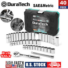 Duratech 40 Pc 38drive Socket Set Sae And Metric Mechanics Tool Set Withcase Us