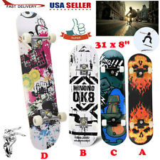 "Skateboard 31"" x 8"" Complete Pro Skateboard 9 Layer Canadian Maple Wood"