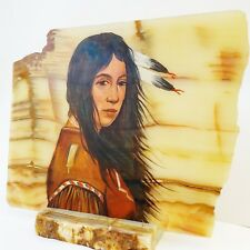 Rare Art Oil Painting of Native American Indian on Marble Slate