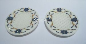 """4.5x3.5"""" Marble Soap Holder Blue Stone Inlaid Work Soap Dish with Set of 2 Piece"""