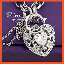 18K WHITE GOLD GF LAB DIAMOND HEART PADLOCK BELCHER RINGS CHAIN BANGLE BRACELET