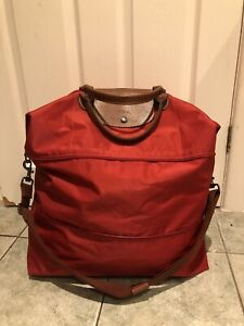 Genuine Longchamp XL Expandable  Travel/weekend Bag. VGC Red